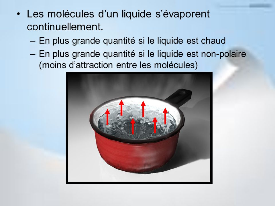 Les molécules d'un liquide s'évaporent continuellement.