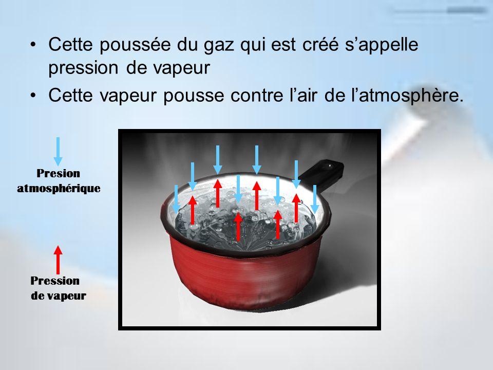 Cette poussée du gaz qui est créé s'appelle pression de vapeur