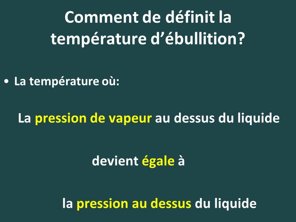 Comment de définit la température d'ébullition
