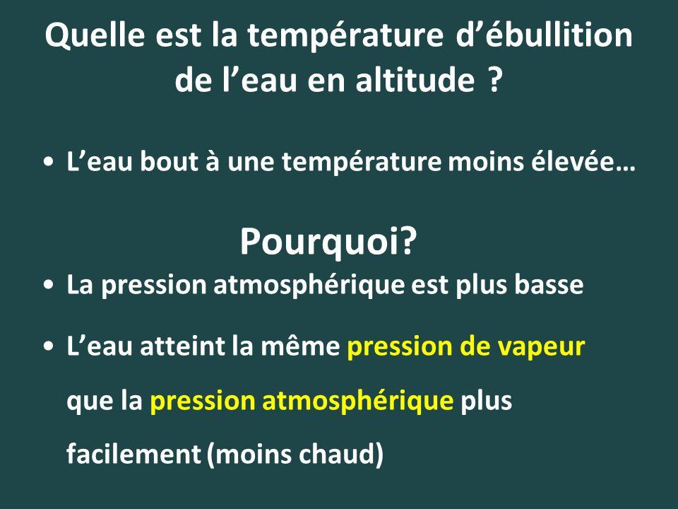 Quelle est la température d'ébullition de l'eau en altitude