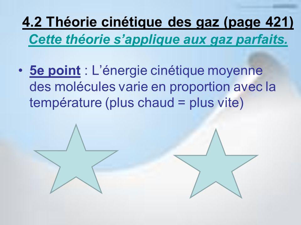 4.2 Théorie cinétique des gaz (page 421) Cette théorie s'applique aux gaz parfaits.