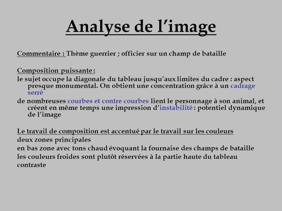 Analyse de l'image Commentaire : Thème guerrier ; officier sur un champ de bataille. Composition puissante :