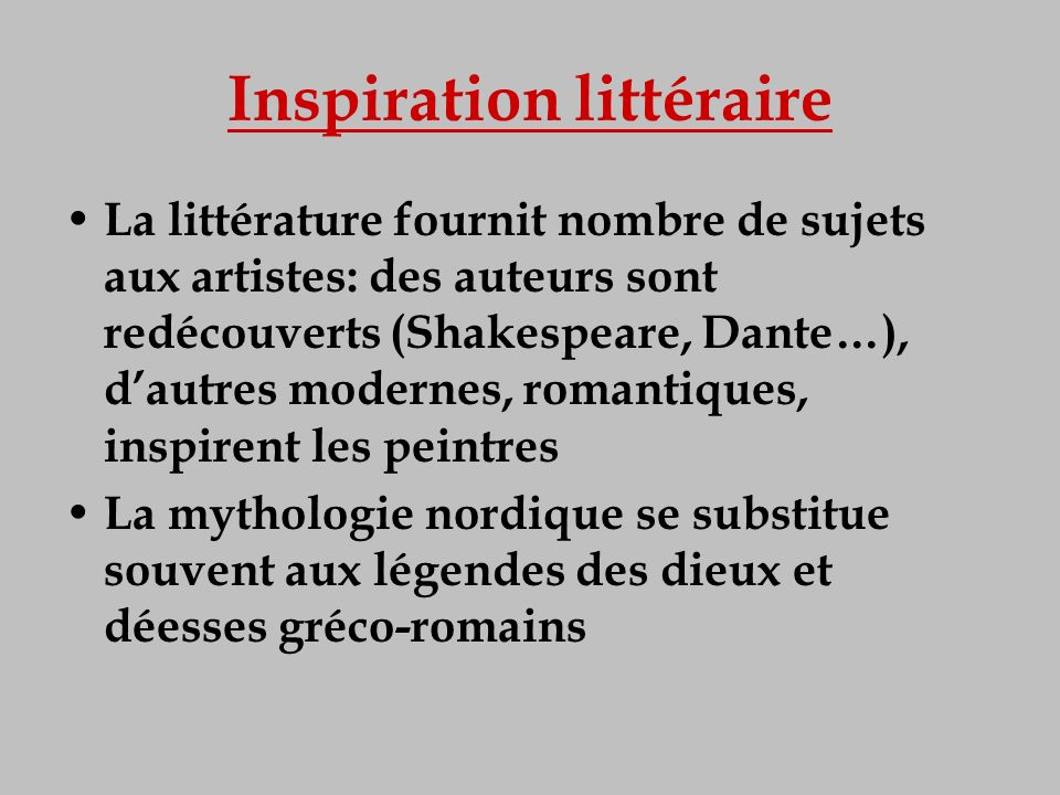 Inspiration littéraire