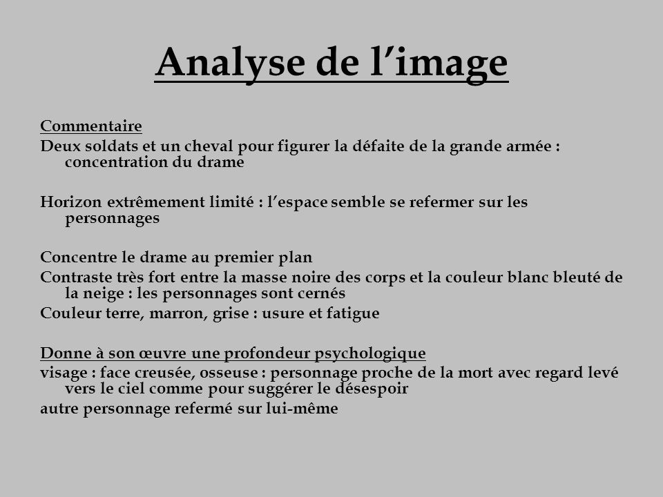 Analyse de l'image Commentaire