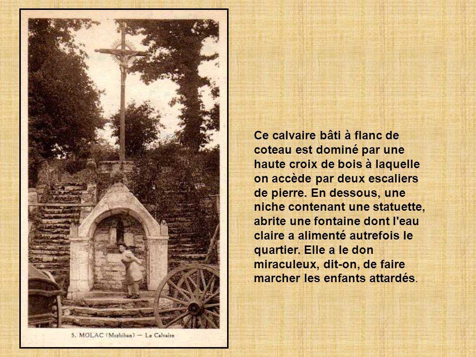 Ce calvaire bâti à flanc de coteau est dominé par une haute croix de bois à laquelle on accède par deux escaliers de pierre.