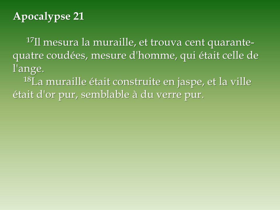 Apocalypse 21 17Il mesura la muraille, et trouva cent quarante-quatre coudées, mesure d homme, qui était celle de l ange.