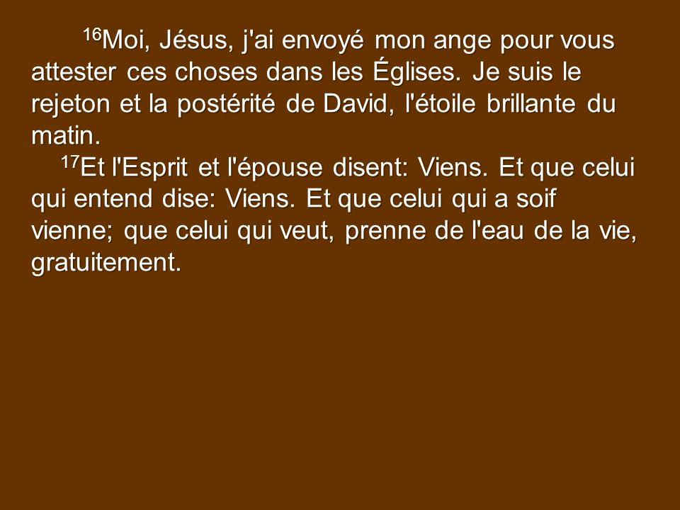 16Moi, Jésus, j ai envoyé mon ange pour vous attester ces choses dans les Églises. Je suis le rejeton et la postérité de David, l étoile brillante du matin.