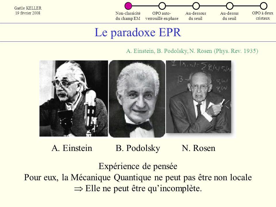 Le paradoxe EPR A. Einstein B. Podolsky N. Rosen Expérience de pensée