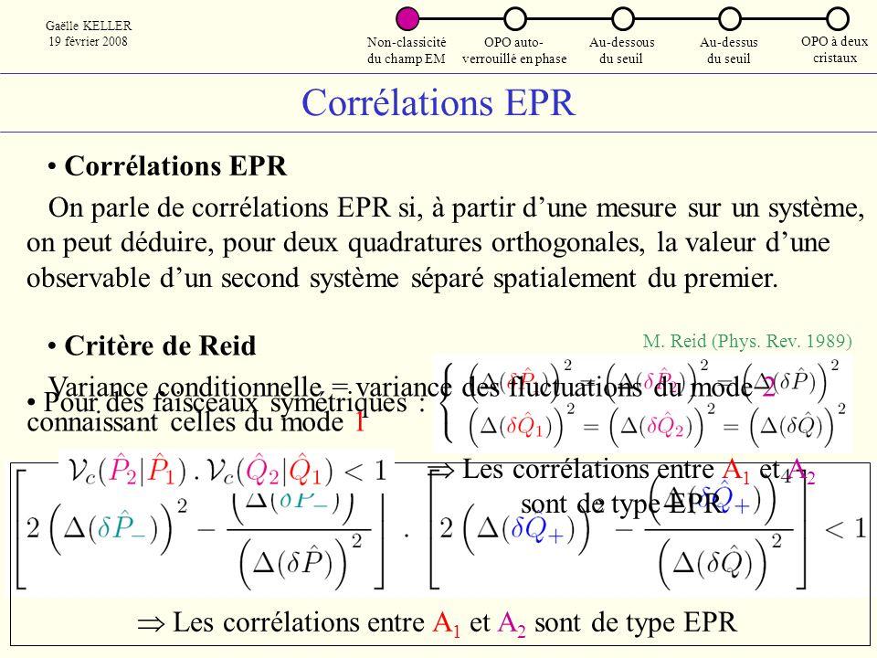 Corrélations EPR Corrélations EPR
