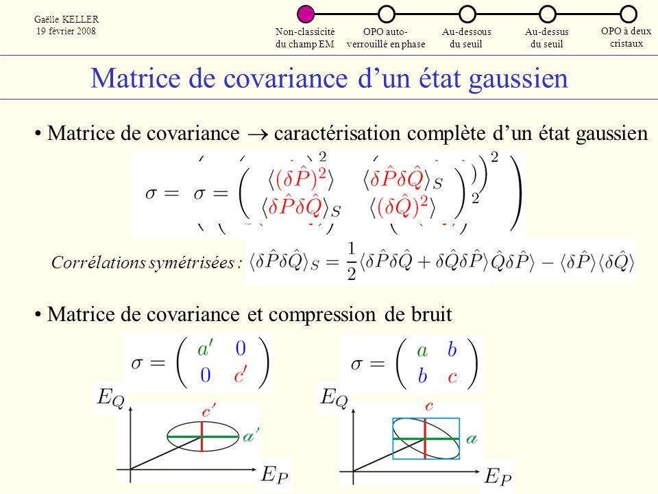 Matrice de covariance d'un état gaussien