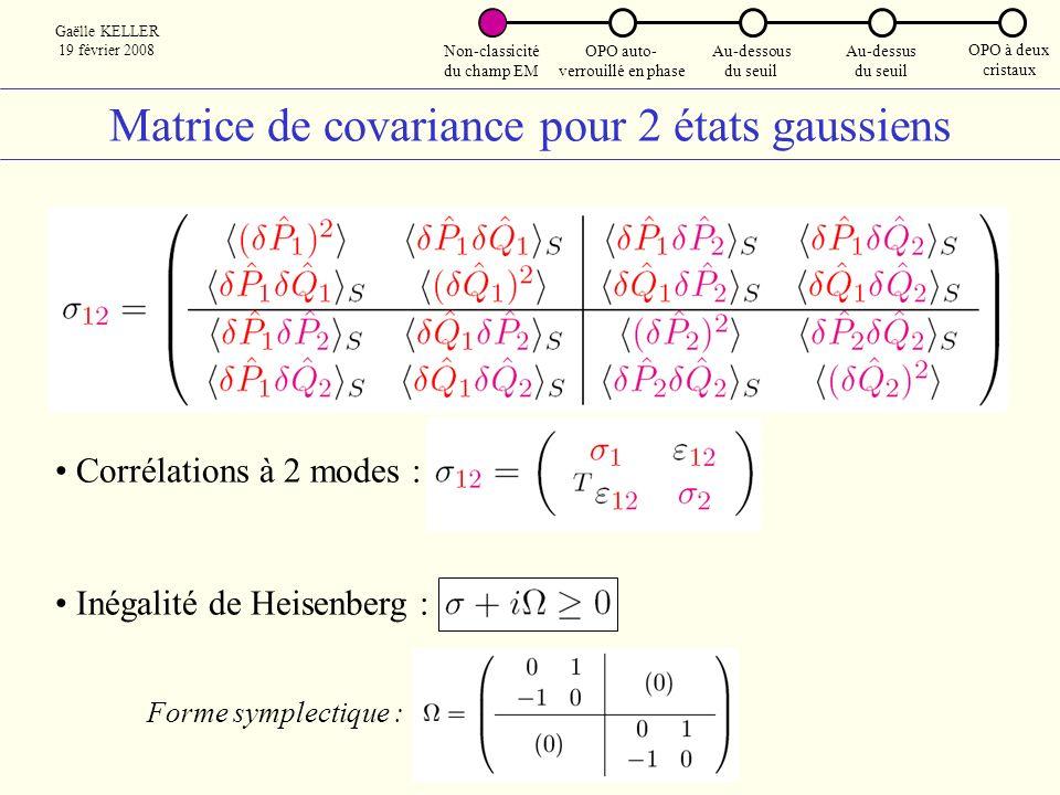 Matrice de covariance pour 2 états gaussiens