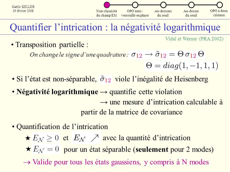 Quantifier l'intrication : la négativité logarithmique