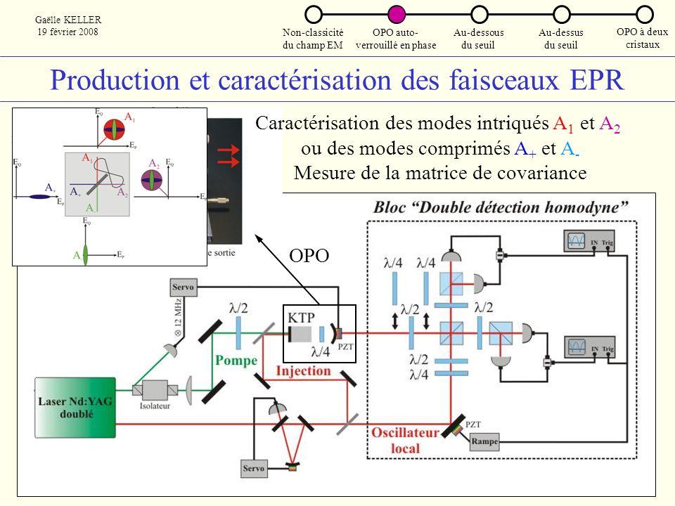Production et caractérisation des faisceaux EPR