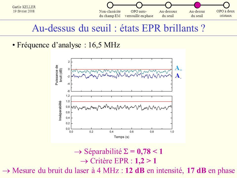Au-dessus du seuil : états EPR brillants