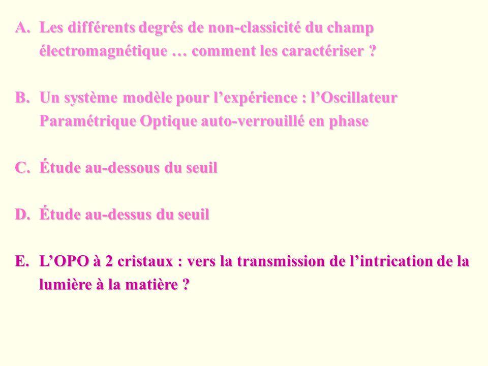 Les différents degrés de non-classicité du champ électromagnétique … comment les caractériser