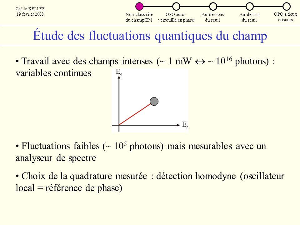 Étude des fluctuations quantiques du champ