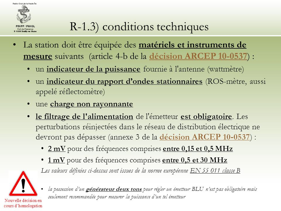 R-1.3) conditions techniques