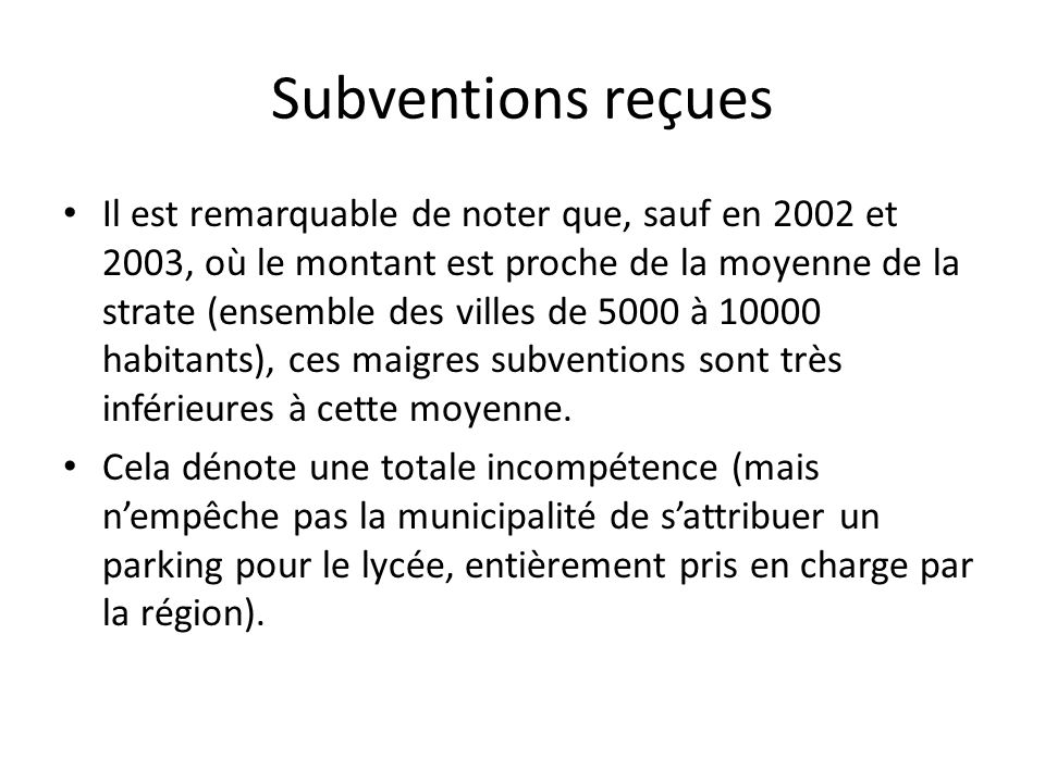 Subventions reçues