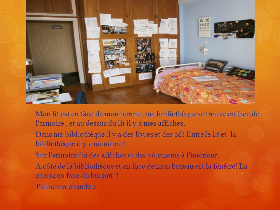 Mon lit est en face de mon bureau, ma bibliothèque se trouve en face de l armoire , et au dessus du lit il y a mes affiches.