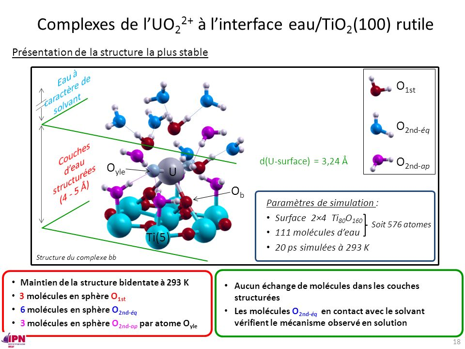 Complexes de l'UO22+ à l'interface eau/TiO2(100) rutile