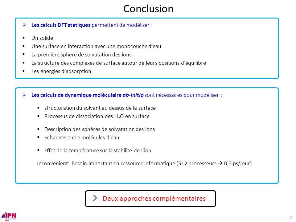 Conclusion  Deux approches complémentaires