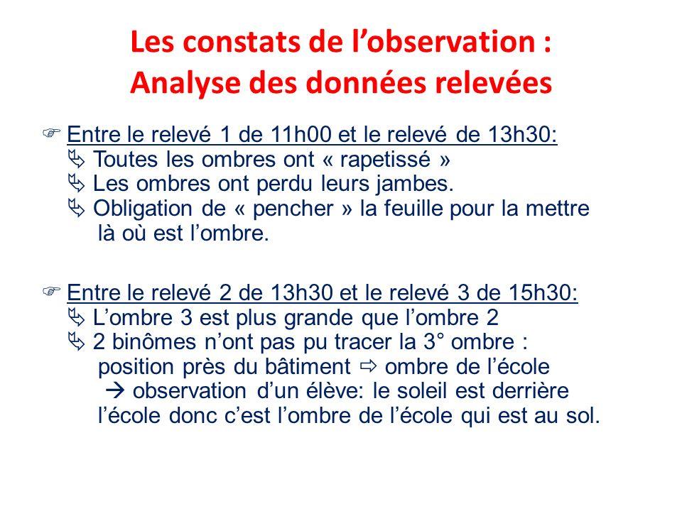 Les constats de l'observation : Analyse des données relevées