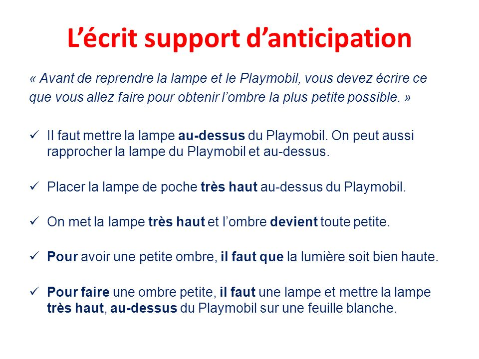 L'écrit support d'anticipation