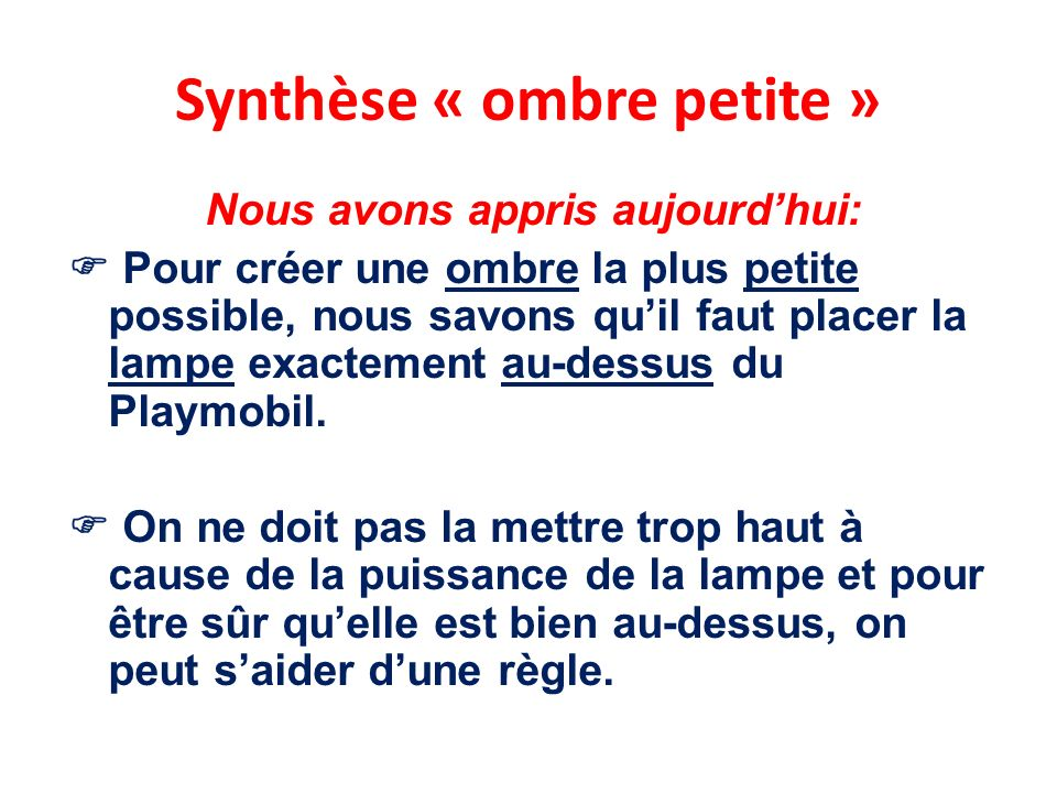 Synthèse « ombre petite »