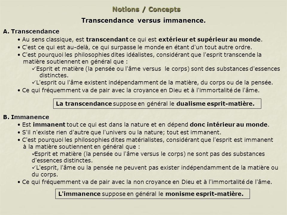 Transcendance versus immanence.