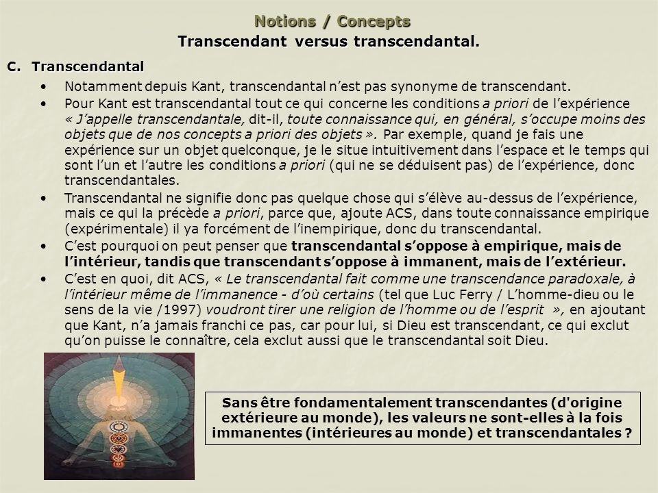 Transcendant versus transcendantal.