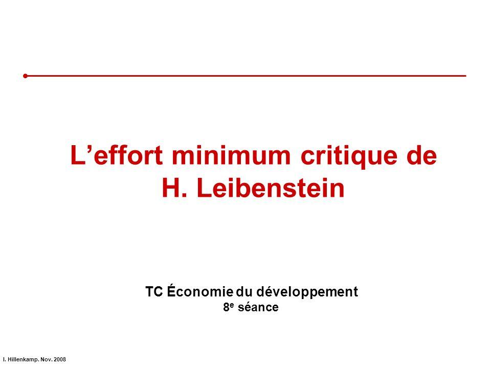 L'effort minimum critique de H. Leibenstein