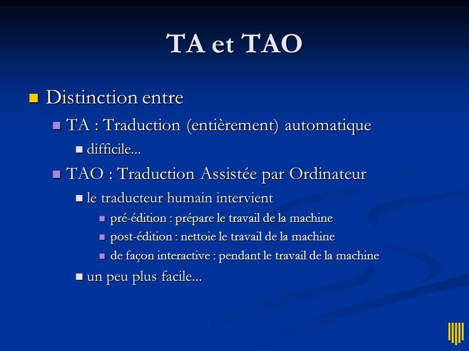TA et TAO Distinction entre TA : Traduction (entièrement) automatique