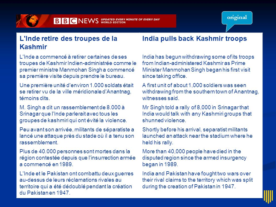 L Inde retire des troupes de la Kashmir