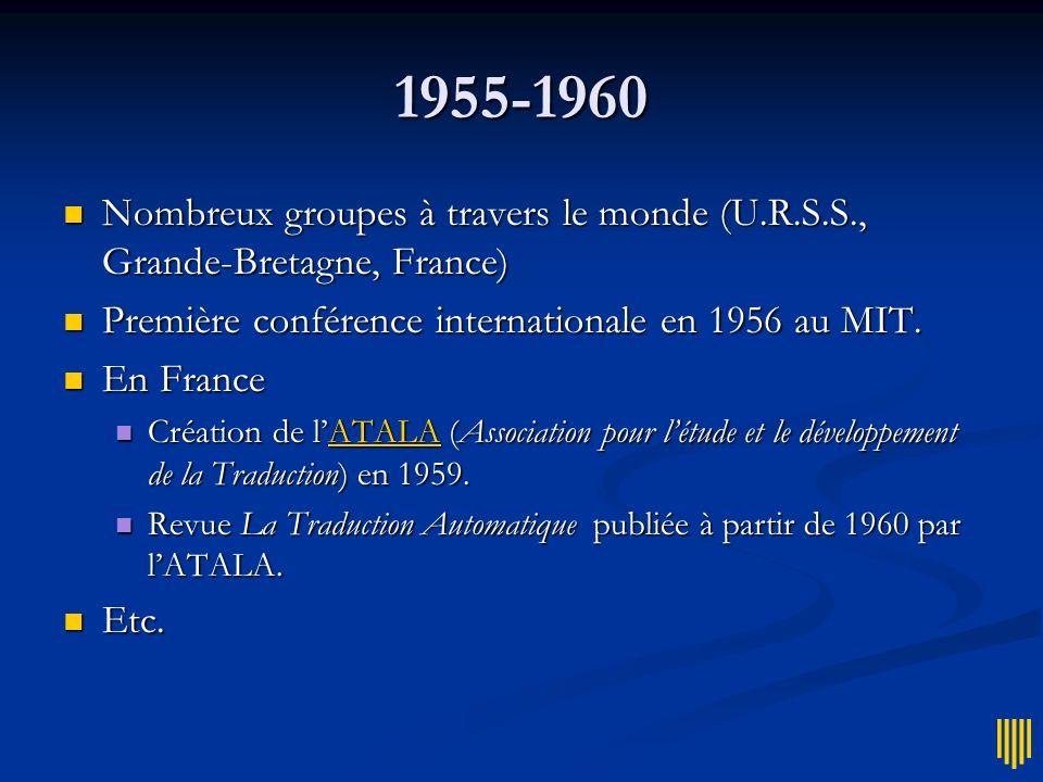 1955-1960 Nombreux groupes à travers le monde (U.R.S.S., Grande-Bretagne, France) Première conférence internationale en 1956 au MIT.
