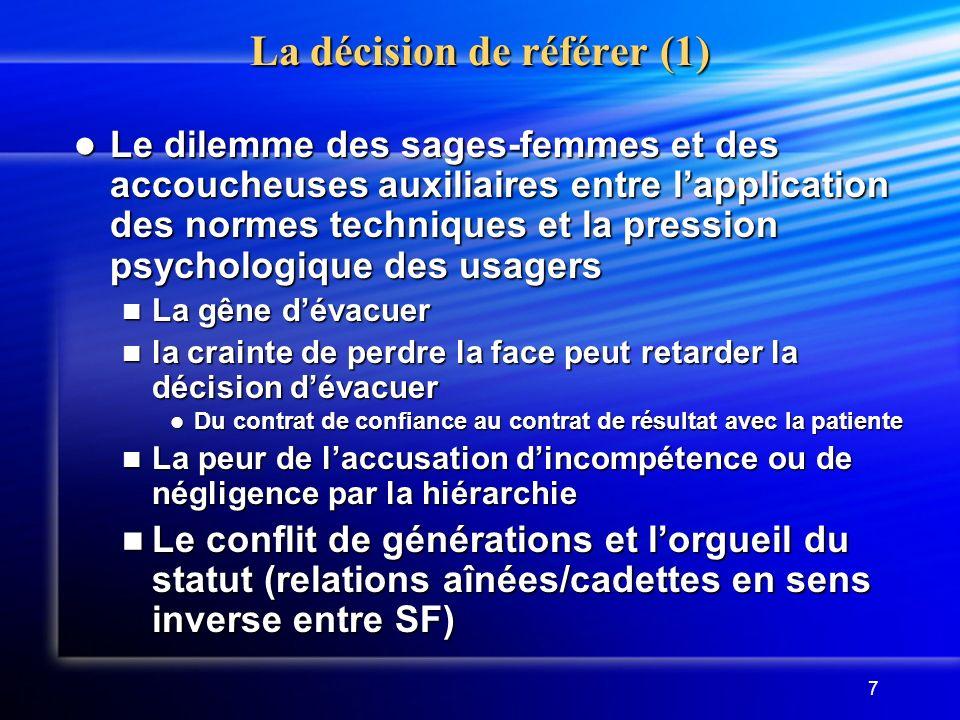 La décision de référer (1)