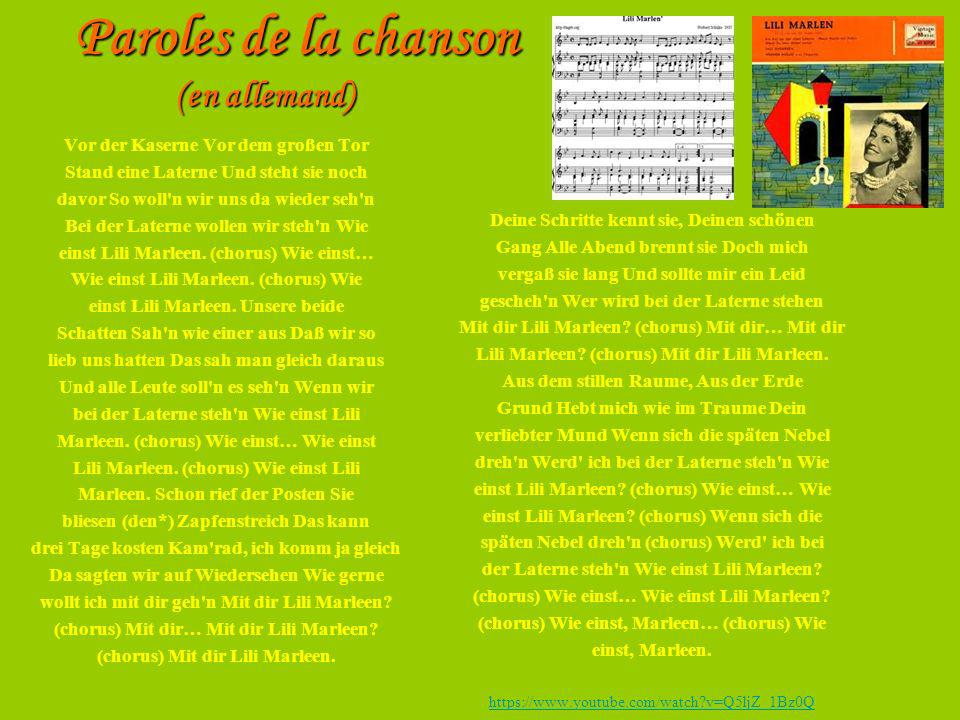 Paroles de la chanson (en allemand)