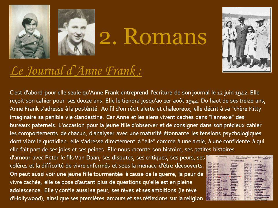 2. Romans Le Journal d'Anne Frank :