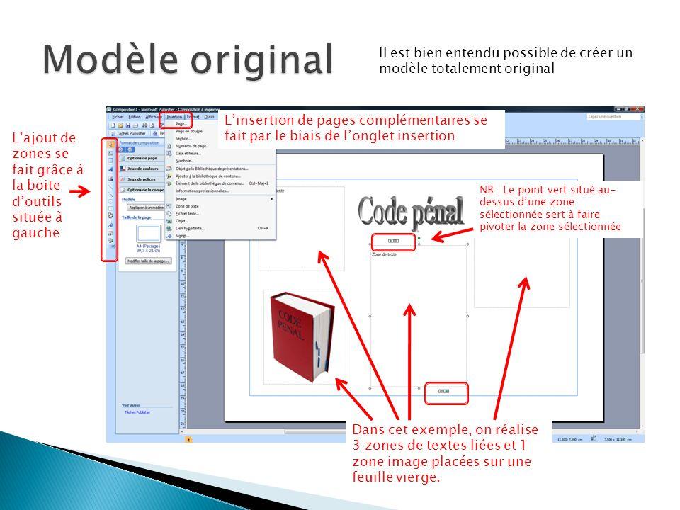 Modèle original Il est bien entendu possible de créer un modèle totalement original.