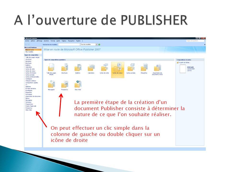 A l'ouverture de PUBLISHER