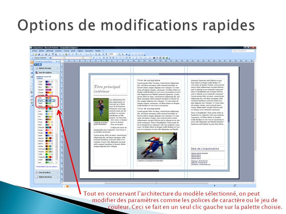 Options de modifications rapides