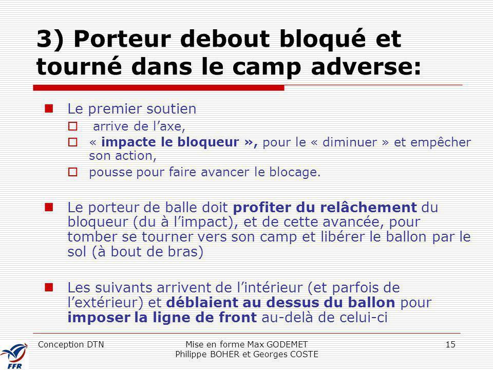 3) Porteur debout bloqué et tourné dans le camp adverse: