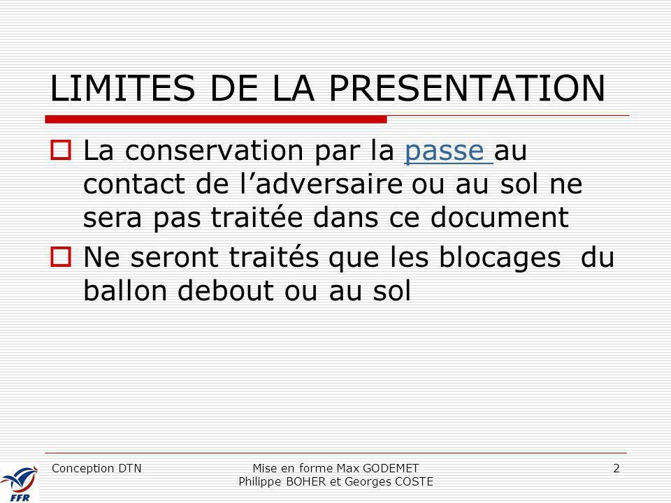 LIMITES DE LA PRESENTATION