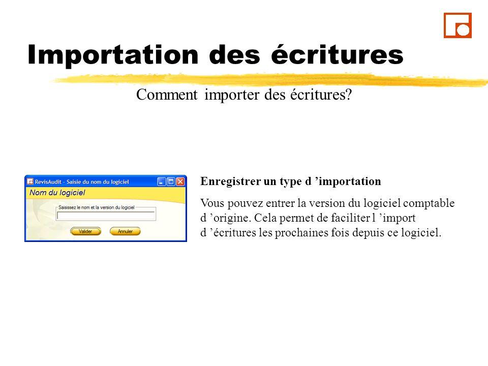 Importation des écritures