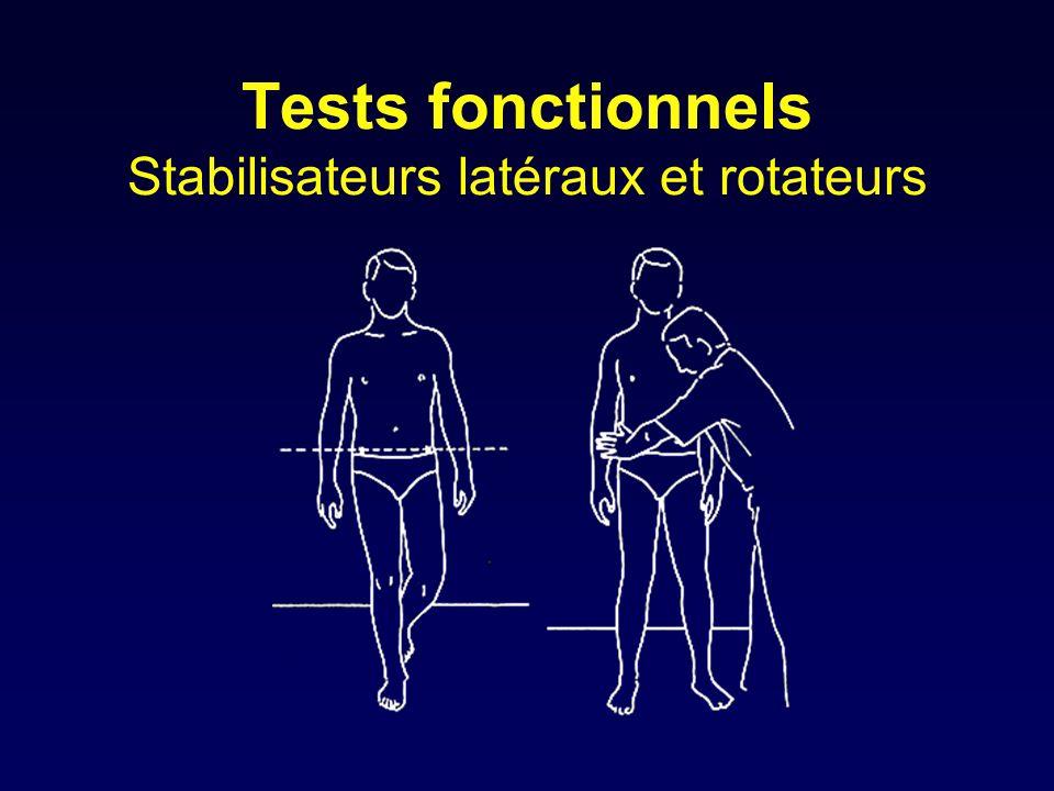 Tests fonctionnels Stabilisateurs latéraux et rotateurs