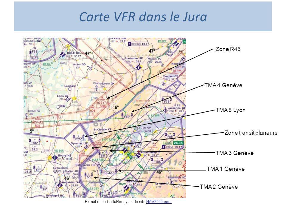 Carte VFR dans le Jura Zone R45 TMA 4 Genève TMA 8 Lyon