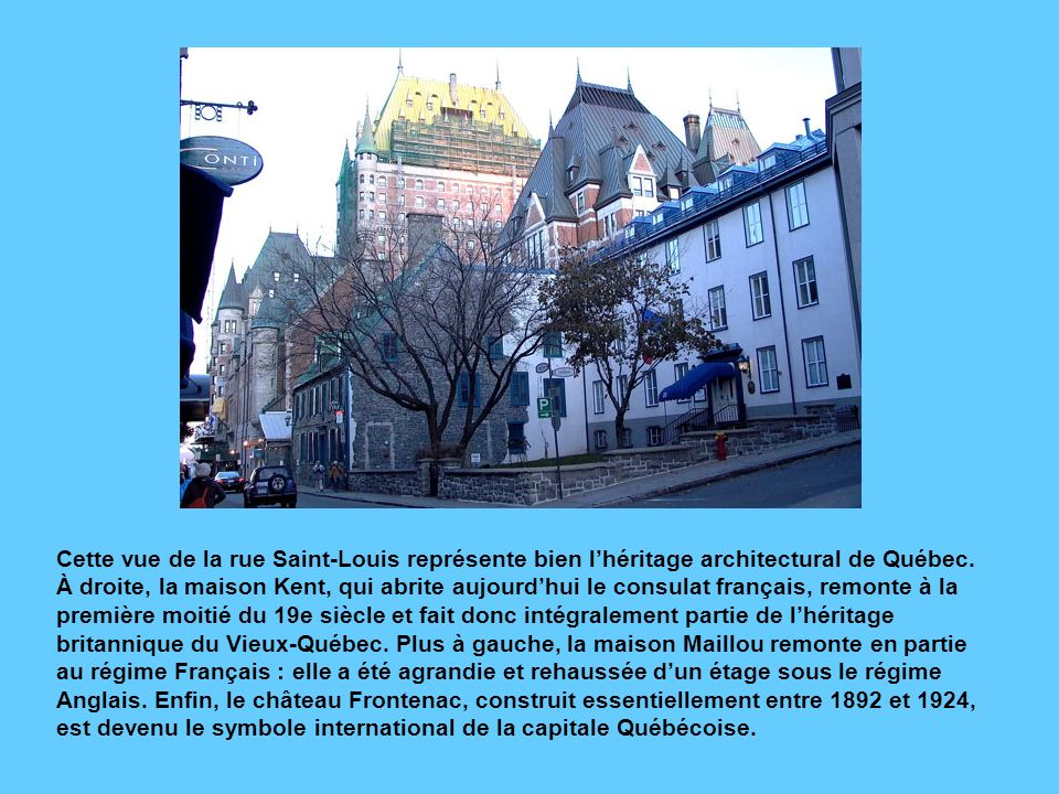 Cette vue de la rue Saint-Louis représente bien l'héritage architectural de Québec.
