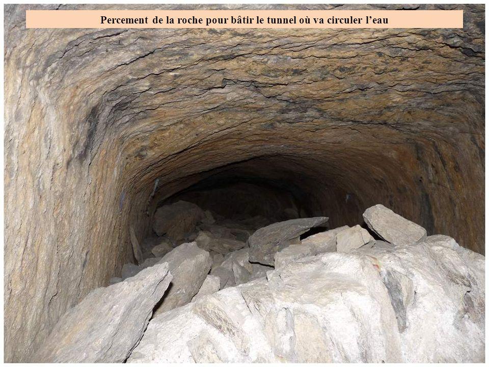 Percement de la roche pour bâtir le tunnel où va circuler l'eau