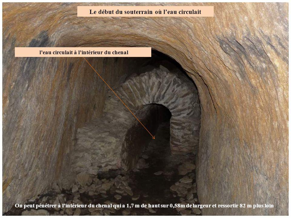 Le début du souterrain où l'eau circulait