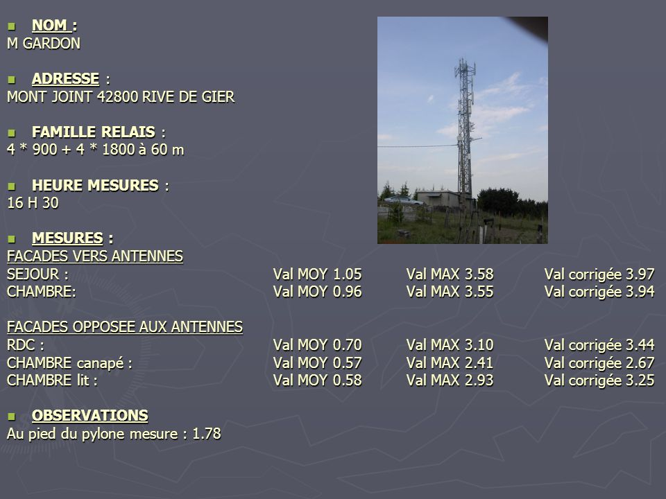 NOM : M GARDON. ADRESSE : MONT JOINT 42800 RIVE DE GIER. FAMILLE RELAIS : 4 * 900 + 4 * 1800 à 60 m.