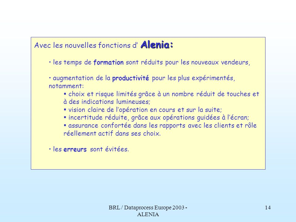 BRL / Dataprocess Europe 2003 - ALENIA